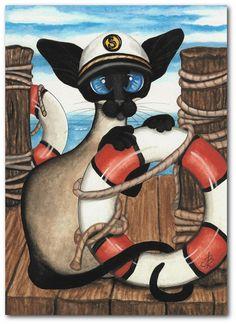 Siamese Cat Kitten Sailor Pet ArT 5x7 Print by by AmyLynBihrle