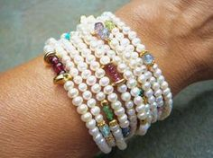 The Marguerite: Freshwater Pearl Multi Strand por TeeceTorre Cultured Pearl Necklace, Pearl Jewelry, Beaded Jewelry, Jewelery, Handmade Jewelry, Beaded Necklace, Gemstone Bracelets, Jewelry Bracelets, Pearl Bracelet