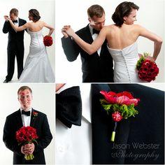 Red anemone wedding boquet, black white red wedding, hollywood glam