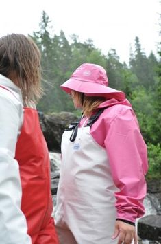 Lady in pink rain hat and rain suit with white medium weight PVC rain overalls Rain Hat, Rain Jacket Women, Raincoats For Women, Catsuit, Pink Ladies, Overalls, Windbreaker, Women Wear, Latex