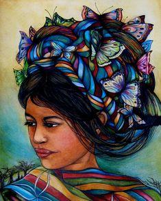 vrouw met vlinders uit Guatemala art print door claudiatremblay