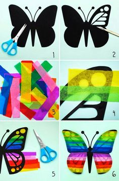 Tinker with tissue paper Butterflies Instructions . Tinker with tissue paper Butterflies Instructions window decoration Kids Crafts, Summer Crafts, Easy Crafts, Diy And Crafts, Arts And Crafts, Origami, Tissue Paper Crafts, Paper Garlands, Paper Butterflies