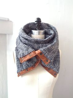 Blue wool circular infinity scarf