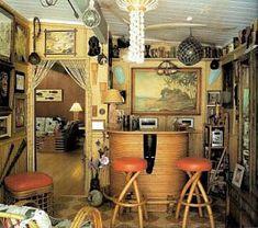 Tiki Bar in a Mid Century Modern Home/ Tiki Style/ Tiki Party Tiki House, Up House, Vintage Tiki, Vintage Signs, Vintage Decor, Vintage Posters, Vintage Cars, Tiki Bar Decor, Hawaiian Decor