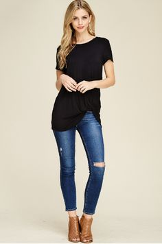 93ede67f913 Black tunic with a front knot twist. Soft, lightweight material with a  loose comfortable