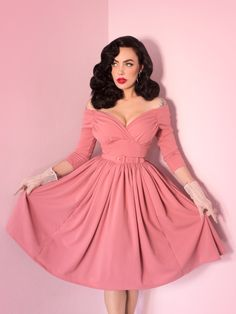PRE-ORDER - Starlet Swing Dress in Rose Pink - Vixen by Micheline Pitt