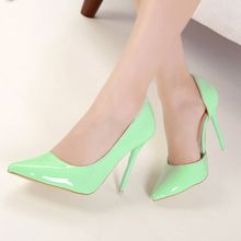 high heels shoes woman candy thin heel pumps 2014 fashion sexy women's pumps patent leather ladies shoe free shipping ZY048