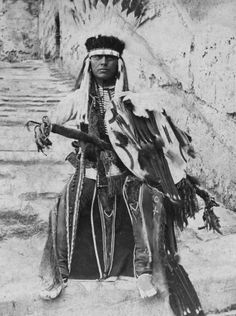 Howling Wolf, Southern Cheyenne Warrior, incarcerated in the old Spanish Fort, St. Augustine, Florida as a prisoner of war by the United States Government. Photo: ca. 1875. - Part of the Lawrence T. Jones III Texas photography collection.