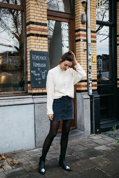 POLIENNE | wearing a VILA knit & skirt, MOROBE boots at Tinsel, Antwerp