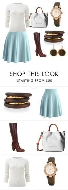 """""""Wood and Aqua"""" by heartsabustin on Polyvore featuring NEST Jewelry, Chicwish, UGG Australia, Dooney & Bourke, Allude and Lauren Ralph Lauren"""