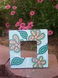 Tuscan Garden  Painted Mosaic Frame by Johnnynae on Etsy, $13.00