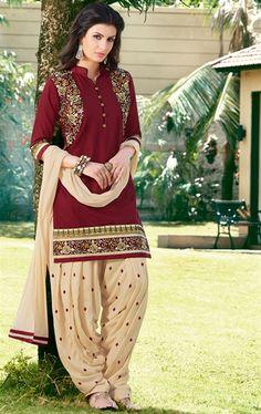Dazzling Maroon Patiala Salwar Suit
