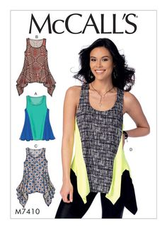 Misses' Knit Diagonal-Seam Tank Tops. McCall's M7410 sewing pattern.