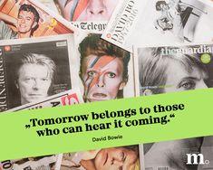 Danke, David Bowie, für das Zitat, welches wir heute aufgreifen.  Deswegen: An Umfragen teilnehmen und die Trends von morgen mitbestimmen! David Bowie, Things To Come, Trends, Graphics, Photo Illustration, Thanks, Mornings, Quotes, David Bowie Band