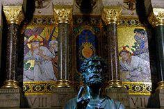 basilique du Sacré-Cœur: chemin de croix stations 7 et 8 par atelier Guilbert Martin d'après C. Maxence statue Saint Pierre.