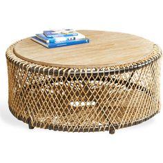 Saranda Beach Style Wood Rope Round Coffee Table (8,375 CNY) found on Polyvore