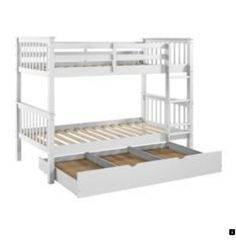 Solid Wood Twin Bunk Bed with Trundle Bed - White - Saracina Home : Target Bunk Bed With Trundle, Bunk Beds With Stairs, Twin Bunk Beds, Kids Bunk Beds, Loft Beds, Solid Wood Bunk Beds, White Bunk Beds, Bunk Bed Designs, Murphy Bed Plans