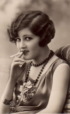 Flapper with a cigarette