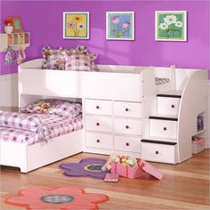 Kids Bunk Bed w/ Dresser Stairs