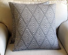 Ikat SAPPHIRE  on GRAY  pillow coverS 18x18 same fabric front and back--Pair. $60.00, via Etsy.