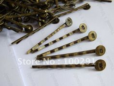 Jewelry DIY findings - 500pcs 45mm with 8mm flat pad antique bronze hair clip hair bobby pins findings accessories