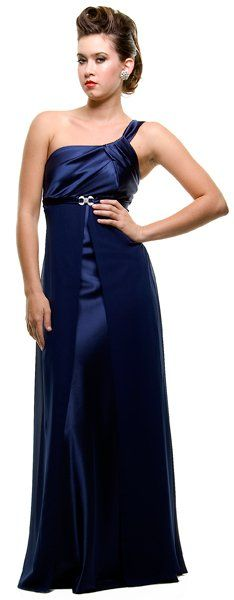 Plus Size One Shoulder Black Dress Satin/Chiffon Full Length Gown (12 Colors Available)