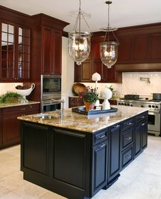 Contrasting kitchen islands dark wood for Deborah s kitchen