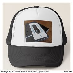 Vintage audio cassette tape on wooden table trucker hat - Urban Hunter Fisher Farmer Redneck Hats By Talented Fashion And Graphic Designers - #hats #truckerhat #mensfashion #apparel #shopping #bargain #sale #outfit #stylish #cool #graphicdesign #trendy #fashion #design #fashiondesign #designer #fashiondesigner #style