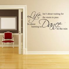 LIFE ISNT ABOUT WAITING FOR THE STORM TO PASS Wall Quote Sticker,BEDROOM, LIVING | eBay
