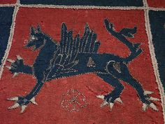 Detail of a 16th century Intarsia coverlet from Dahlems Church, Smaland, in the Stockholm museum of National Antiquities.