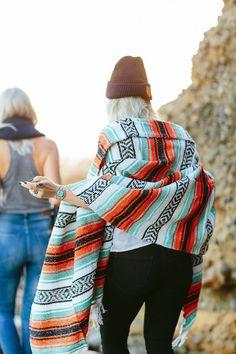 THE CASSIDY: Turquoise, Orange, Black & White Mexican Blanket | Gunn & Swain More