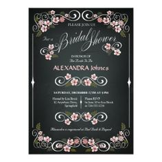 Chalkboard Floral Bridal Shower Chic Vintage Personalized Invitations. Click on photo to purchase this and matching wedding products.