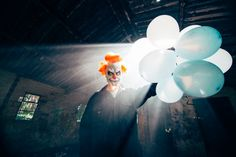 Killer clown horror photography, taken in an abandoned building and the woods. Killer clown chases after a woman who's broken down on the side of the road. Clown Horror, Horror Photography, Film Stock, Macabre, Horror Movies, Creepy, The Incredibles, Dark, Horror Films