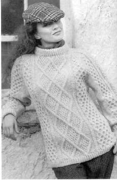Traditional Irish Aran knitted in Wendy Traditional Aran 500g ... shade Moorland 180 from Loveknitting. Designed by the Yarnlovers Room it features moss-stitch-filled diamond cables in the central pattern, with honeycomb cables elsewhere. FREE pattern
