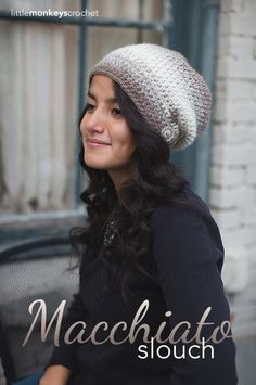 Macchiato Slouch Crochet Hat | Free Slouchy Hat Crochet Pattern made with Lion Brand Scarfie, by Little Monkeys Crochet