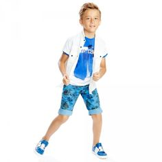 ROBERTO CAVALLI Boys Blue & White Cotton Jersey T-Shirt p