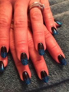 Nails by Mindy 816-914-8987 Historical square Liberty, MO Blue and black glitter shellac gel polish