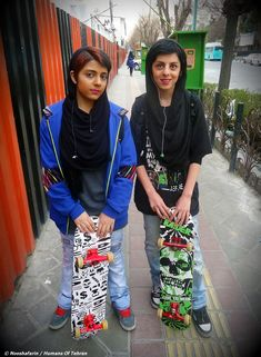 Skater Girls Seen in Vanak Sq. in Tehran, Iran --  Reminds me of young Marjane Satrapis, haha.