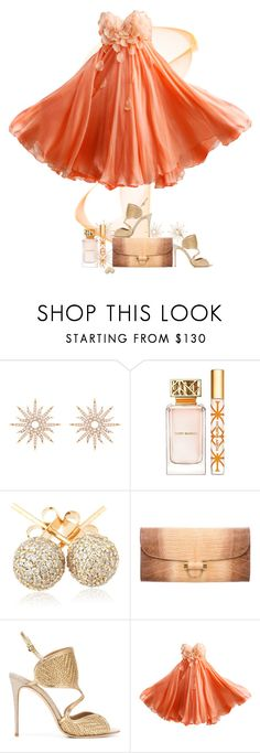 """""""Simply Peachy"""" by ritadolce ❤ liked on Polyvore featuring Christina Debs, Tory Burch, Loushelou, Yves Saint Laurent and Salvatore Ferragamo"""