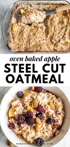This apple baked steel cut oatmeal is easy to make with just a few ingredients and a few minutes of prep time. It's ready after an hour of baking in the oven for a warm, filling, nutritious breakfast the whole family will love. This recipe is vegan, gluten-free and has no added sugar. #runningonrealfood #vegan #oatmeal #breakfast