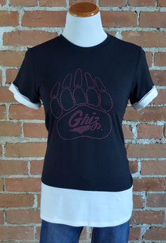 Team 44 Apparel - UNIVERSITY OF MONTANA, COLORBLOCK TEE with Nailhead Griz Paw Logo