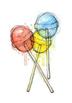 Your place to buy and sell all things handmade Lollipops Watercolor Art Print Candy Sweets Food Illustration Colorful Decor Art Drawings Sketches, Cute Drawings, Painting & Drawing, Watercolor Paintings, Watercolor Food, Watercolor Ideas, Watercolor Artists, Colorful Paintings, Abstract Watercolor