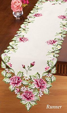 Embroidered Pretty Pink Roses Decorative Table Runner