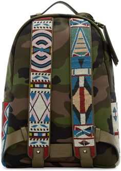 Valentino - Green Canvas Beaded Camouflage Backpack