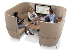 Acoustic soft seating for Third space We can generally break the office workspace up in to three spaces; First, Second and Third spaces. First space is the desk area, where we do our demanding task… Office Space Design, Modern Office Design, Office Interior Design, Office Interiors, Booth Seating, Office Seating, Home Office, Office Workspace, Office Furniture
