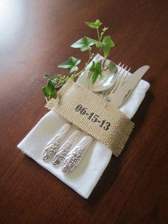 Personalized Burlap Cutlery Holders  by SpoolsAndBobbins on Etsy, $13.50