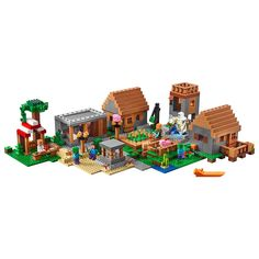 Over 1,500 pieces - This hive of activity features a library, blacksmith, butcher and a marketplace, Have the iron golem patrol the streets to ward off zombies and other hostile mobs. Includes 4 : Steve, Alex, zombie and a zombie villager, plus a Creeper, enderman, pig, baby pig, iron golem and 2 villagers (a farmer and a librarian)