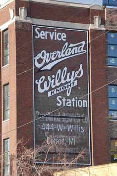 #Willys #Detroit This has been repainted, but there are traces of the old sign under the new paint.
