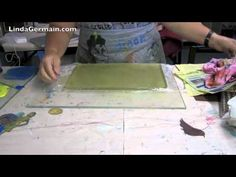 gelatin plate for printmaking w/plastic wrap liner to get the gelatin out of the pan super easily