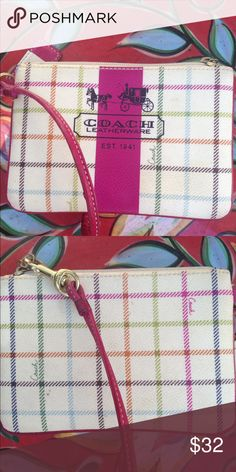 """COACH HERITAGE STRIPE TATTERSALL WRISTLET EUC FINAL. This beautiful WRISTLET is like new. Maybe carried twice. No wear or marks. Great beige plaid with raspberry pink stripe and piping. Approx 6"""" x 4"""". Coach Bags Clutches & Wristlets"""